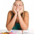 Teen girls smiling and dreaming — Stock Photo