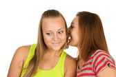Due ragazze adolescenti spettegolare — Foto Stock
