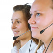 Two young girls Operator call center — Stock Photo