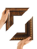 Element of the frame in hand — Stock Photo