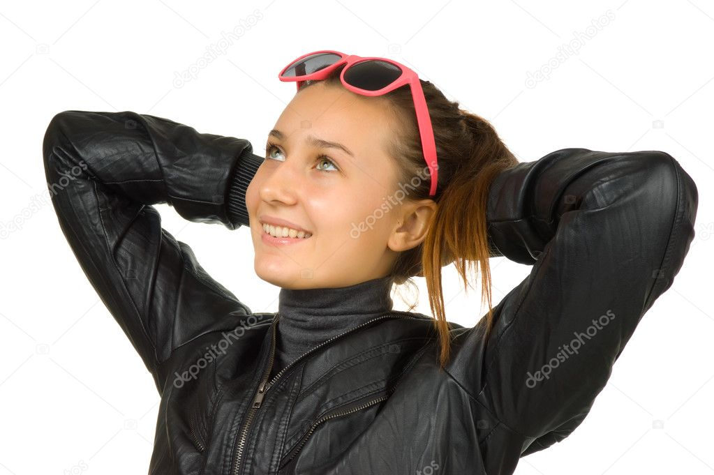 Happy young girl in a black leather jacket — Stock Photo