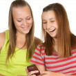 Portrait of lovely young women using mobile phone together — Stock Photo #3823068
