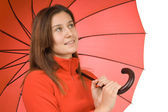 молодая девушка с зонтиком — Стоковое фото