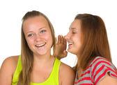 Two teenage girls gossiping — Stock Photo