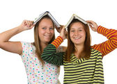 Two teenage girls fool around — Stockfoto