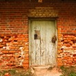 Old brick wall with door - Stock Photo