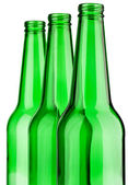 Top of three green bottle isolated — Stock Photo