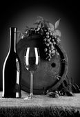 Grayscale wine composition — Stock Photo