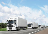 Caravan of white trucks on highway — Stock Photo