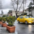Taxi on a rainy day — Stock Photo