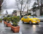 Taxi on a rainy day — Photo