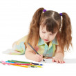 The child draws crayon drawing — Stock Photo