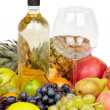 Bottle of wine, glass and tropical — Stock Photo