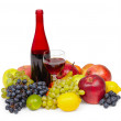 Still life - bottle of red wine, glass — Stock Photo