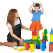 Stock Photo: Mother and daughter playing with blocks