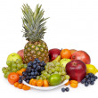 Stock Photo: Still life of tropical fruits on white