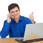 człowiek jest w rozmowy na telefon komórkowy — Zdjęcie stockowe