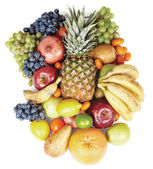 Tropical fruits on white background — Stock Photo