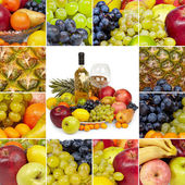 Wine, tropical fruits - square collage — Stock Photo