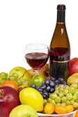 Wine and fruit - still life on white background — Stock Photo
