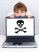 Woman can not work - problem with pirate softwar — Stock Photo