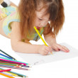 Child draws picture with colored pencils — Stock Photo