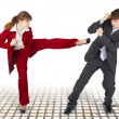 Extreme office quarrel men and women — Stock Photo