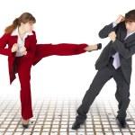 Extreme office quarrel men and women — Stock Photo