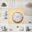 Collage - Japanese garden of stones. Time. — Stock Photo