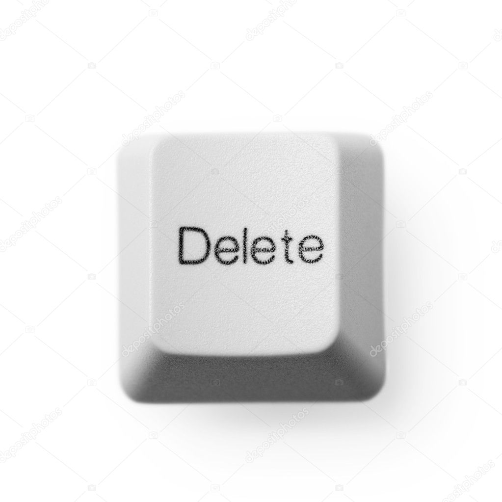 Computer button labeled - delete, on a white background  Stock Photo #3022349