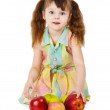 Emotional surprised girl with apples sit on whit — Stock Photo