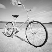 Old-fashioned bicycle - monochrome picture — Stock Photo