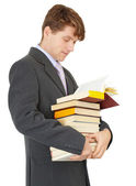 Student with bunch of books — Stock Photo
