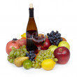 Still-life from various fruit and wine - Stock Photo