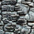 Charred wooden wall after fire - Stock Photo