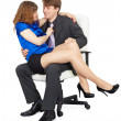 Beautiful girl - secretary in a lap at head — Stock Photo