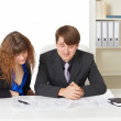 Man and woman - engineers, working in office — Stock Photo