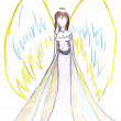 Child's drawing - angel with wings — Stock Photo