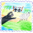 Child's drawing - beast catches sheep. Hunters r — Stok fotoğraf