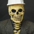 Terrible dude in mask of skeleton with helmet — Stock Photo