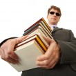 Blind man holding stack of books — Stock Photo