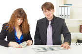 Man and woman have different wages — Stock Photo