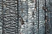 Parete di legno edificio danneggiato da un incendio — Foto Stock