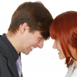Stock Photo: Serious confrontation between men and women