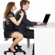 Funny man and woman sitting at the table — Stock Photo #3433529