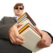Min dark glasses holding books — Stock Photo #3438474
