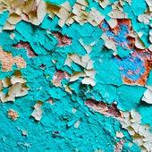 Pintura dañada en la superficie de la vieja pared — Foto de Stock