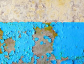 Wall of ruined building painted in two colors — Stock Photo