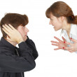 Man and woman swear - Stock Photo