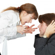 Young woman shouting at a man — Stock Photo